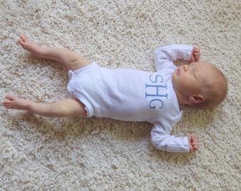 Baby Monogram Bodysuit. Toddler Monogram Bodysuit. Baby Boy Monogram Bodysuit.