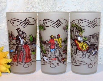 Vintage Frosted Tumblers, Currier & Ives Designs, Hazel Atlas Glass,  Hand Decorated by Gay Fad Studios, Set of 3 Glasses, Drinking Glasses