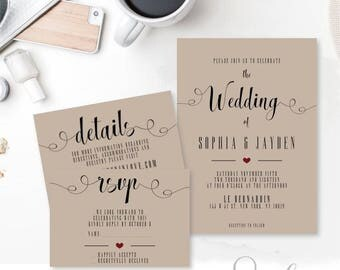 Wedding Invitation Suite,  Rsvp, Thank you, Vintage Invitation, Printable Invitation Suite DIY Wedding set, DIGITAL FILES, WS14