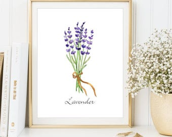 Lavender Watercolor Herb print, Watercolor Botanical Illustration sign Printable Lavender flower Art Print, Home decor DIGITAL FILES