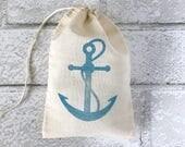 Anchor Favor Bag Nautical Muslin Bag Thank You Gift Beach Destination Wedding Welcome Birthday Party Bachelorette Hawaii Ahoy Baby Shower