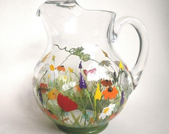 READY TO SHIP --  Pitcher, Hand Painted Glass Pitcher, Christmas Gift, For Her, for Mom,Kitchen Decor,Wildflowers,Rustic Decor,Birthday Gift