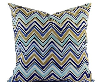 15% OFF SALE Two Outdoor Pillow Covers   Blue And Tan Pillows   Patio  Pillows