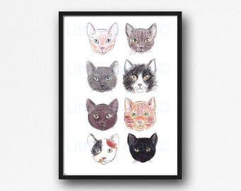 Cat Print Cat Breeds Print Cat Wall Art lllustration Art Sphynx Shorthair Tabby Russian Blue Tuxedo Burmese Ginger Tabby Calico Black Cat