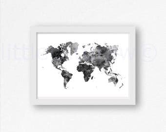 World Map Print World Map Poster Watercolor Art Print Wall Art Map of The World Art Print Bedroom Wall Decor Wall Poster Unframed