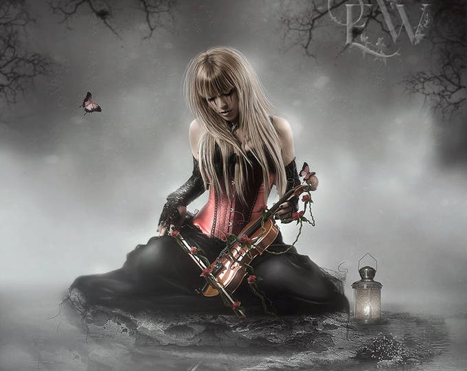 Gothic fantasy fantasy woman with violin art print