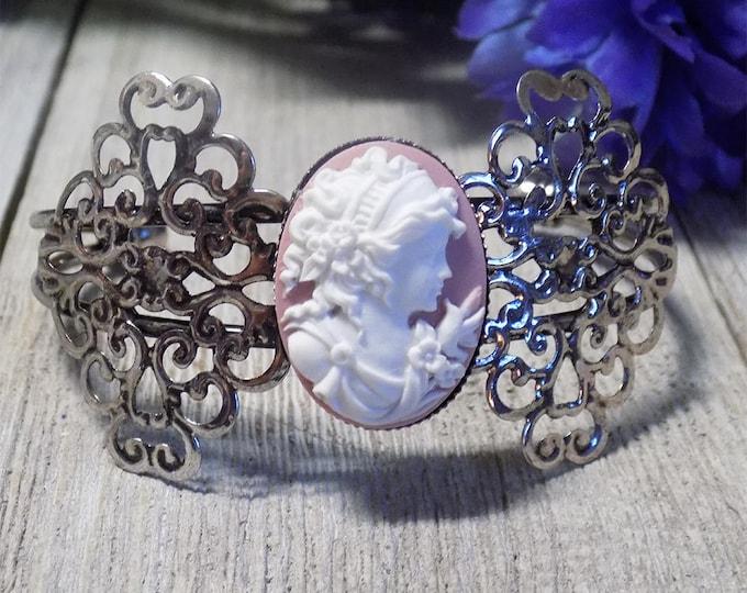 Vintage style Victorian antique silver tone filigree pink cameo bracelet