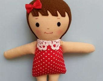 Mini Storybook Ragdoll, handmade cloth doll plushie