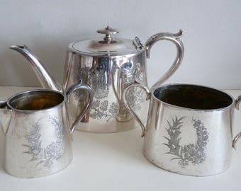 Vintage Decorative Teapot Creamer and Sugar Bowl Set - Silver Plated