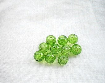 Ten 8mm Green Crackle glass beads