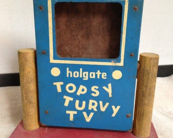 Vintage Holgate Toy Topsy Turvy TV, Story of Little Red Riding Hood, 4 tiles with pictures on each side telling the story