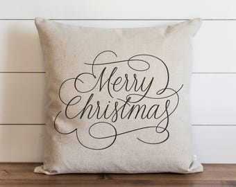 Merry Christmas Script 20 x 20 Pillow Cover // Christmas // Holiday // Throw Pillow // Gift  // Accent Pillow