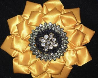 Gold Satin Statement Brooch with Rhinsstones