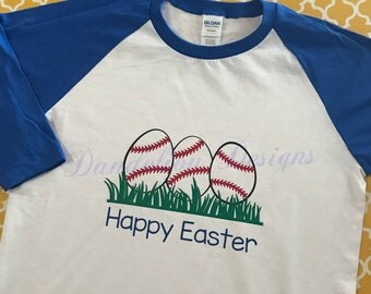 Boy's Easter Shirt Baseball Easter Eggs Ball Player Boy Toddler