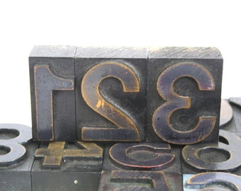 Large Letterpress Numbers made of Wood / Pick Your Numbers / Wooden Letterpress