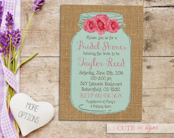 Mason Jar Bridal Shower Invitation, Rustic Burlap Floral Barn Wood Invite Digital Download