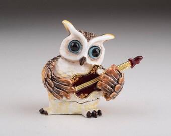 Brown Owl Playing Guitar Trinket Box Musical Figure Handmade Decorated Artwork Handmade Home Decor