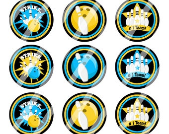 INSTANT DOWNLOAD / Bowling / Blue, Yellow, Black / Digital Bottle Cap Image Sheet / 1 Inch Circles / 4x6 Collage Sheet /# BC152
