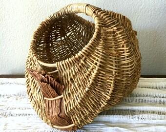 Vintage Wicker Buttocks Basket with Handle / Woven Rattan Basket with Ribbon Weave /  Unique Primitive Basket