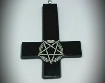 Inverted Cross Pentagram Necklace Pendant Occult Satan