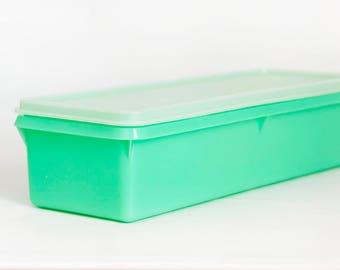 Vintage Jade Green Tupperware Celery Keeper, Long Tupper Ware Refrigerator Vegetable Crisper Storage Container