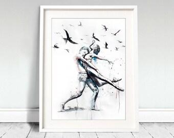 Wall art, dancing couple. Let her do. Watercolor dancing couple with flying birds. Wall art, wall decor, digital print.