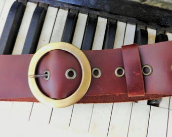 "Vintage, Leather Belt, Large Round, Brass Buckle,Made in  Uruguay, 2"" Wide, Fits 33-38"