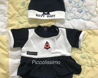 "16"" navy dress onesies"