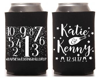 New Years Eve Wedding Can Coolers, NYE Wedding Party Favor, Custom Can Cooler, Beer Cooler, Beverage Holder, Stubby Holder