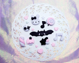 Pastel Goth Cabochons Set   Decoden Set 10 pieces   Polymer clay Cabochons   totally handmade   D.I.Y. set