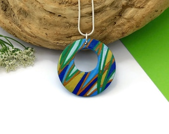 Hand Painted Wood Necklace, Gift For Her, Illustrated Jewelry, Statement Necklace, Colourful Necklace, Quirky Necklace, Colourful Jewelry