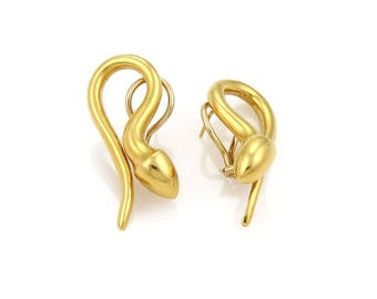 18933 - Vintage Snake Post Clip Earrings in 14k Yellow Gold