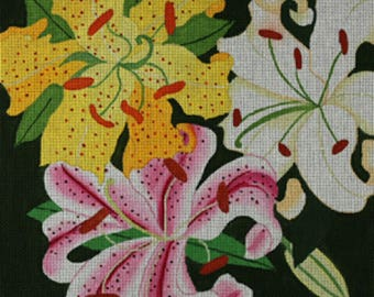 Needlepoint HandPainted Dede LILIES Giant 14x14 -Free US Shipping!!!