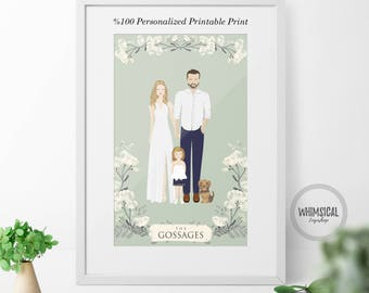 Digital Wedding present, personalised print, Custom married couple illustration, personalized wedding gift, personalized portrait, art gift