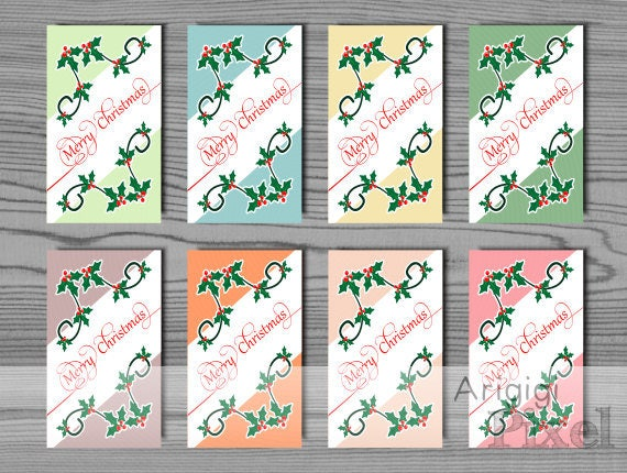 Present Tags file for home printing in several colors with Holly corners, Merry Christmas writing, download instantly