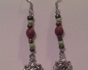Earrings pendant frog silver-plated beads and seed Martinique