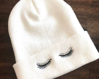 Rhinestone EYELASHES Beanie Embroidered Slouchy Hat Winter Seasonal Clothing Custom Business Beanies