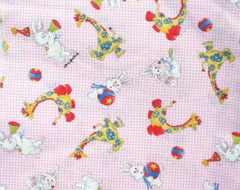 SALE, Children's Fabric, Pink, Bunnies, Giraffes, Pastel, Quilt Fabric