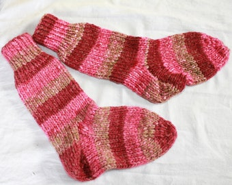 Cozy striped Pink Hand Knitted Socks