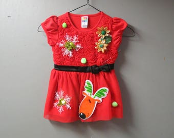 Girl's Snowflake Fun Tacky Ugly Christmas Sweater Party Dress Size 3T Christmas Dress, Girls Red Sweater Dress, Christmas Party