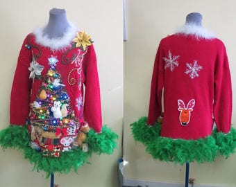 2 Turtle Doves, a Pear, a partridge & Squirrel in Christmas Tree Tacky Ugly Christmas Sweater Mini Dress Light UP Feathers Oversized Medium