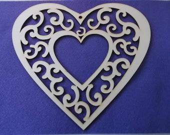 1 hearts, wood, 20,5 x 20 cm (04-0004B)