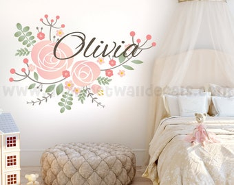 Name Wall Decal, Nursery Wall Decal, Children's Wall Decal, Monogram Wall Decal, Girls Room Wall Decal, Wall Decal, Nursery Decal 02-0001