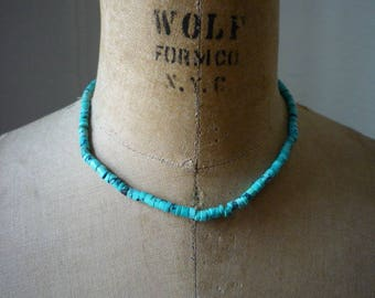 Vintage Native American Blue Turquoise Heishi Choker Necklace