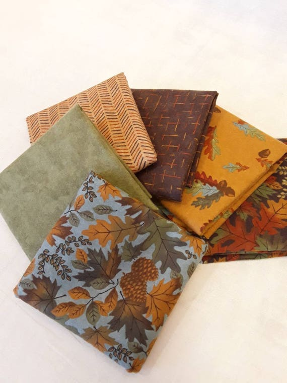 Fall Impressions Half Yard Cuts of Moda Flannel Fabrics From Designer Holly Taylor. Leaves, Dashes, Solid, Pinecones, Acorns