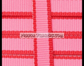 "ON SALE 10 yds 3/8"" Pink and Red Lollipop Stripe Grosgrain Ribbon Valentine's Day"