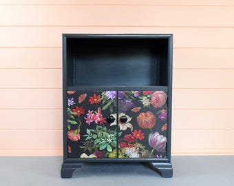 Upcycled hand painted grey art deco cupboard/bedside with dark floral paper detail