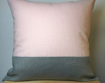 Pink graphic grey linen and linen pillow cover