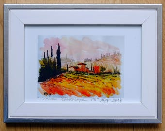 Tuscan landscape original print watercolor home decor tuscany print tuscan decor tuscan watercolor original framed art tuscan art