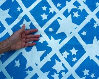 FOLLY Fabric White Star on Blue Heavy Cotton Sister Parish Design Hemmed Cloth